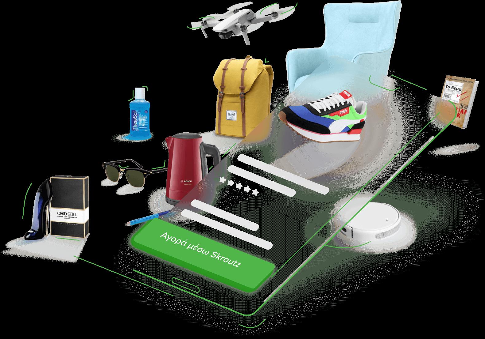 Ένα κινητό με το πράσινο κουμπί 'Αγορά μέσω Skroutz' και γύρω του μια πληθώρα προϊόντων που μπορείς να αγοράσεις μέσω Skroutz
