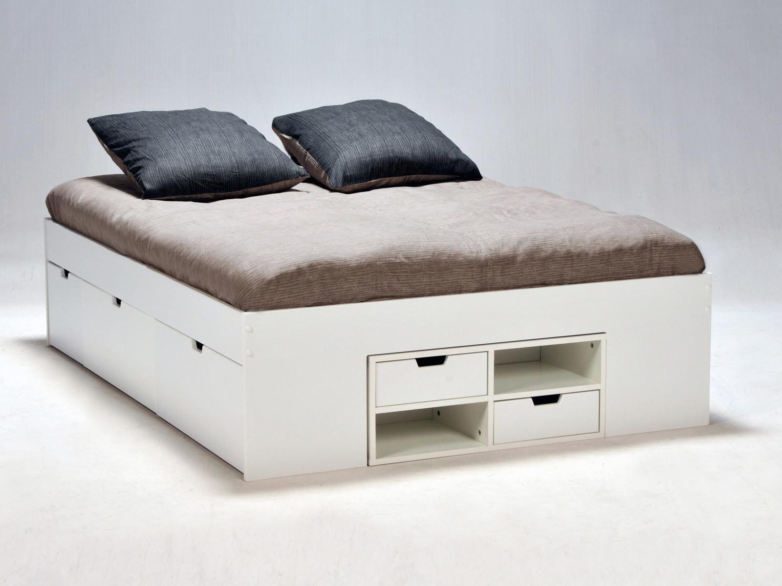 534263 Κρεβάτι Διπλό Ξύλινο με Αποθηκευτικό Χώρο 190x190cm