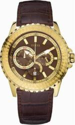Guess Gold Case Brown Leather Strap - W19514G1
