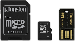Kingston microSDHC 16GB Class 10 with Adapter and USB CardReader