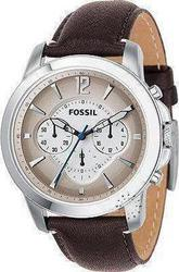 Fossil Chrono Silver Dial Brown Leather Strap - FS4533