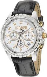 Just Cavalli Easy Black Leather Strap Crystal Ladies R7271667545