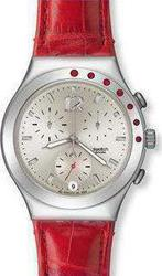 Swatch Heart Cherry Chronograph Red Leather Strap YCS527