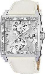 Festina Calendar Crystal White Leather Strap F16570/1