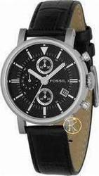 Fossil Chrono Black Dial and Leather Strap ES1795