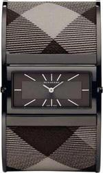 Burberry Ladies Watch Coffe Chec Fabric and Black Stainless Steel Bracelet BU4930