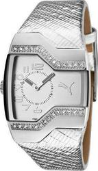 Puma Enticement Silver Leather Strap Crystal Ladies PU101642001
