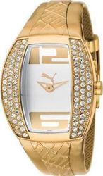 Puma Crystal Lady White Dial Gold Leather strap PU101172003