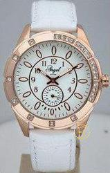 Angel Crystal Rose Gold Case White Leather Strap A10053002