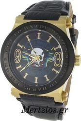 Ed Hardy Admiral Gold Steel Date Watch AD-GD