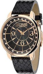 Just Cavalli Trendy Rose Gold Black Leather R7251178525
