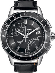 Timex Fly Back Chronograph Black Leather Strap T2N495