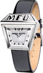 Miss Sixty Trapeze White Dial Black Leather Strap SNP002