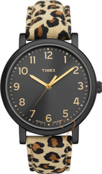 Timex Black Case Animal Print Leather T2N714