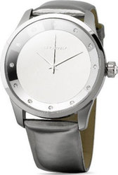 Brosway Crystal Lady Mirror Dial Grey Leather Strap MR01