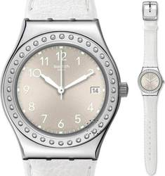 Swatch White Fan Leather Strap YLS448