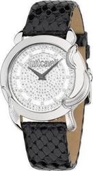 Just Cavalli Eden Black Leather Strap Crystal Dial - R7251576502