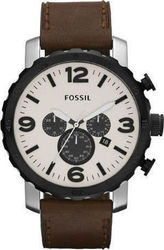 Fossil Mens Watch Chronograph Brown Leather Strap JR1390