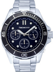 Rebecca Chrono Black Dial Stainless Steel Bracelet - MCROAA73