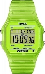 Timex Classic Digital Green Transparent Rubber Strap
