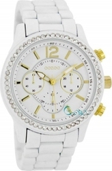 Oozoo Timepieces Crystals White Rubber Metal Bracelet C5765
