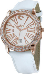 Cobra Crystal Rose Gold Ladies White Leather Strap CO188SR1L1