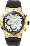 Breeze Gold Black Rubber Strap Chronograph 110111.1