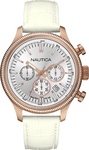 Nautica 100m Chronograph White Leather Strap A21030G