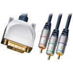 Clicktronic Cable DVI-I male - 3x RCA Video male 20m (52126)