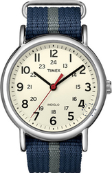 Timex Weekend Slip Through Blue Fabric Strap T2N654