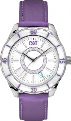 CAT Riviera Crystals Purple Leather Strap L530168228