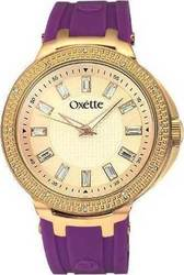 Oxette Crystal Rose Gold Purple Rubber Strap 11X75-00112