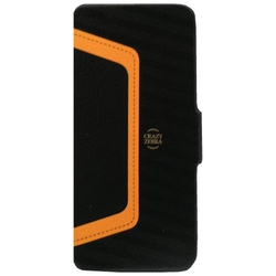 Stoneage Flip Leather Crazy Zebra Black - Orange (iPhone 5/5s/SE)