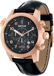Sector Oversize Rose Gold Black Leather Chronograph R3271602007