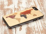 Carved Back Case World Map Wood (iPhone 5/5s/SE)