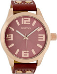 Oozoo 45mm Unisex Red Leather Strap C1155