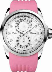 Jacques Farel Multifunction Crystals Pink Rubber Strap ATL6000