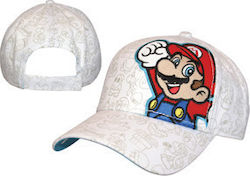 CAP ADJ WHITE WITH MARIO EMBROIDERY