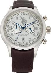U.S. Polo Assn. U.s. Black Dial Brown Leather Strap USP4215ST