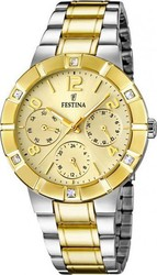 Festina Crystals Multifunction Two Tone Stainless Steel Bracelet F16707/1