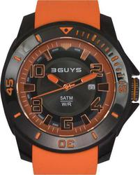 3Guys Unisex Black Case Orange Rubber Strap 3G24405