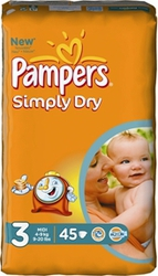 Pampers Simply Dry No 3 (4-9Kg) 45τεμ