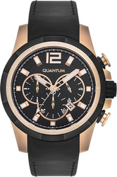 Quantum Adrenaline Black Leather Rose Gold Chronograph ADG381.851
