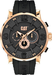 Caterpillar Bold Rose Gold Multifunction Black Rubber Strap NJ19921139