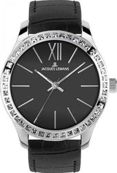 Jacques Lemans ρολόι Rome Crystal Black Leather Strap 1-1841A
