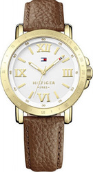 Tommy Hilfiger Classic Ladies Gold Brown Leather Strap 1781438