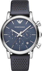 Emporio Armani Chronograph Blue Leather Strap AR1736