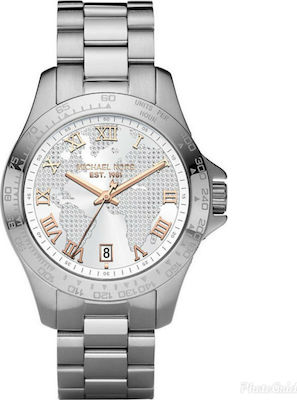 Michael Kors Layton Global Pave Dial Three Hands Stainless Steel Bracelet