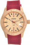 Oxette Rose Gold Red Rubber Strap 11X75-00148
