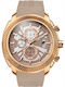 Breeze Pacific Hype Chronograph Rose Gold Stainless Steel Rubber Strap 110331.7